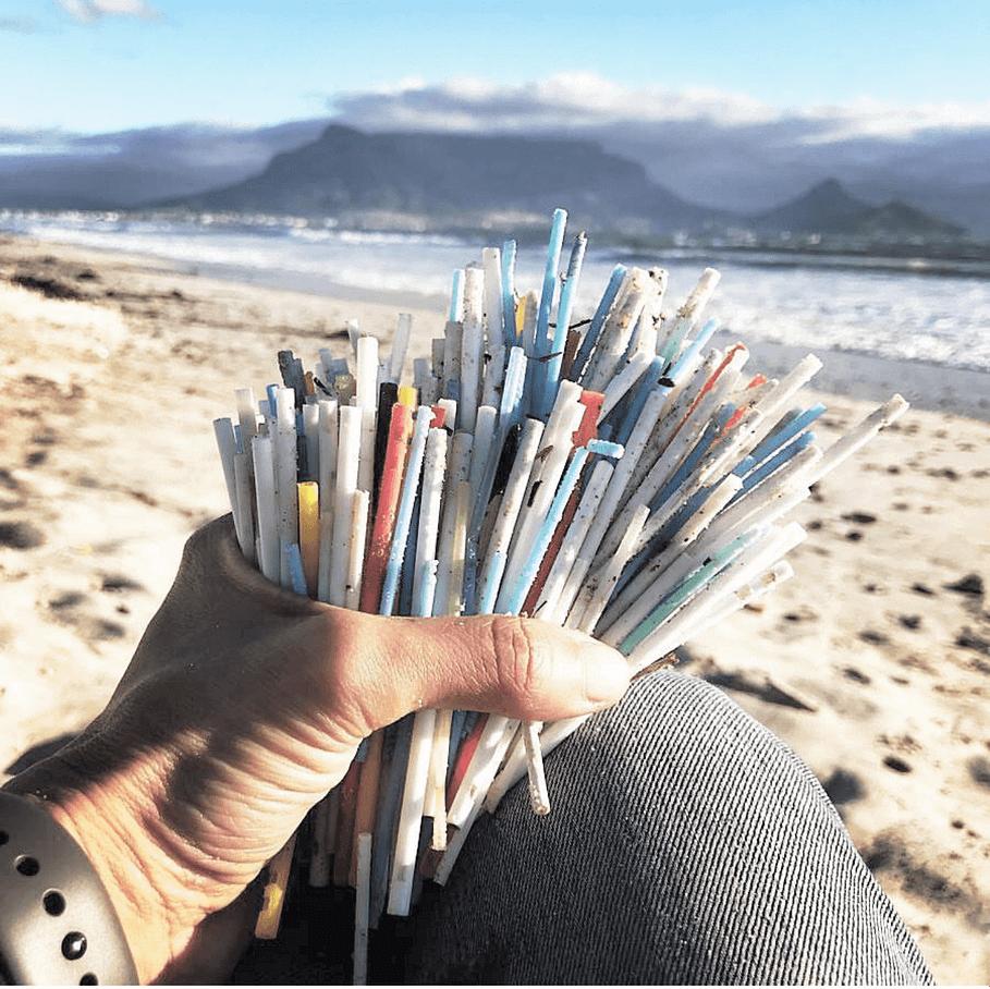 Plastic straws waste