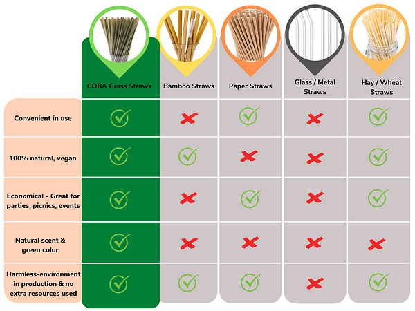 Coba straws with others